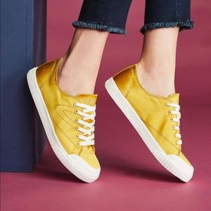 Anthropologie Tretorn Marley Yellow Satin Sneakers